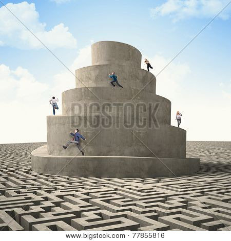 business people run on abstract 3d tower