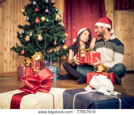 Couple Celebrating Christmas And New Year's Day