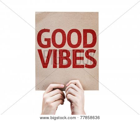Good Vibes card isolated on white background