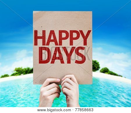 Happy Days card with a beach on background