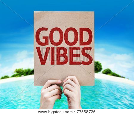 Good Vibes card with a beach on background