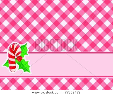 Checkered Red Background With Candy Canes And Mistletoe. Christmas Vector. Tablecloths