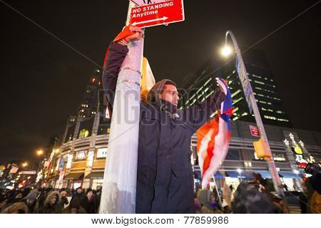 Activist with flags