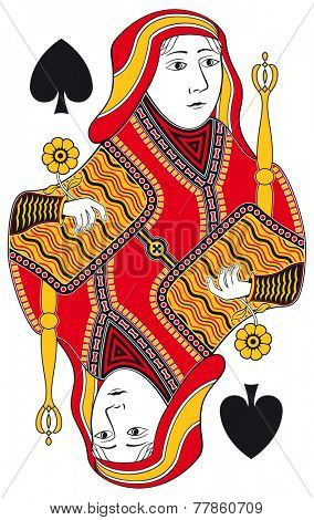 Queen of spades without playing card background