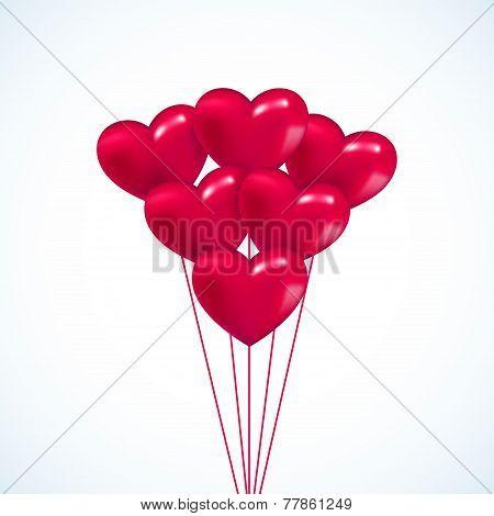 Pink heart Valentine balloons background