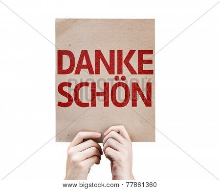 Thank You (In German) card isolated on white background