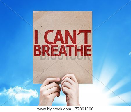 I Can't Breathe card with sky background