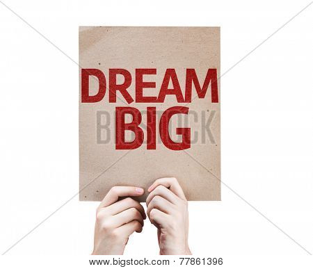Dream Big card isolated on white background