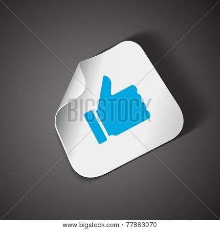 Thumb up icon on bend paper vector design element