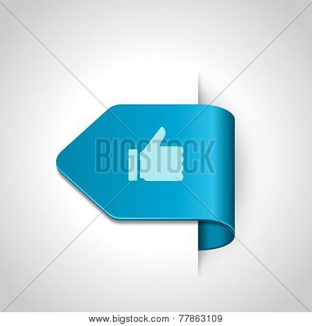 Thumb up icon on bend arrow vector design element