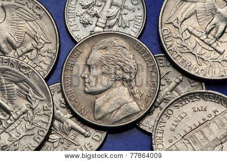Coins of USA. Thomas Jefferson depicted on the US nickel coin.
