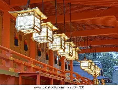 Richly colored Fushimi Inari Taisha Shrine, located in Kyoto, Japan