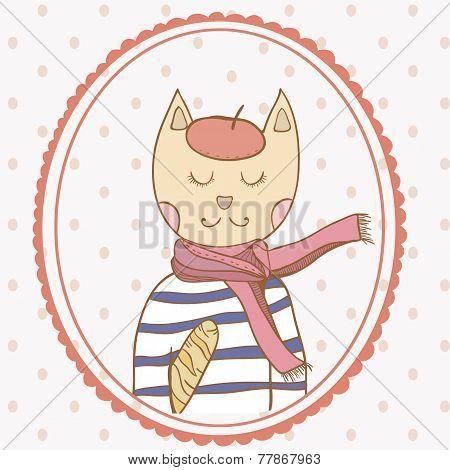 French parisian cat hand drawn illustration polka dot backdrop