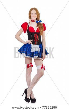 Woman waitress in octoberfest concept