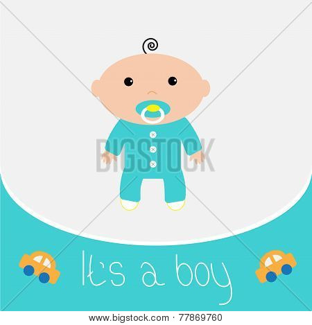 Baby Shower Card It's A Boy Flat Design Style