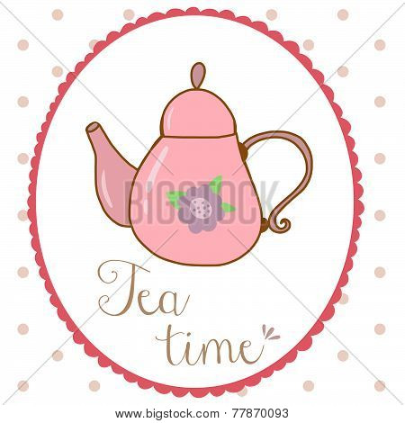 Teapot hand drawn shabby chic style