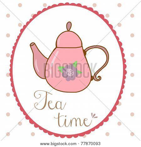 Teapot hand drawn shabby chic style