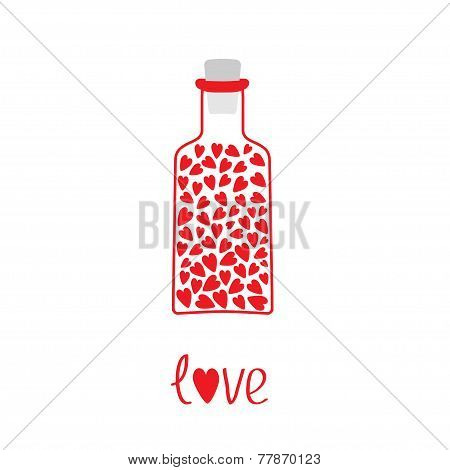 Love Bottle With Hearts Inside. Card