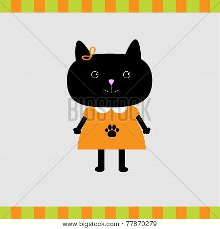 Cartoon Black Cat Girl Card