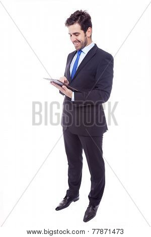 Handsome latin business man with tablet computer, isolated on a white background