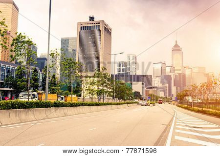 modern cityscape and road of Hongkong