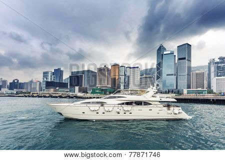 yacht,cityscape and waterscape at  victoria harbour,hongkong.