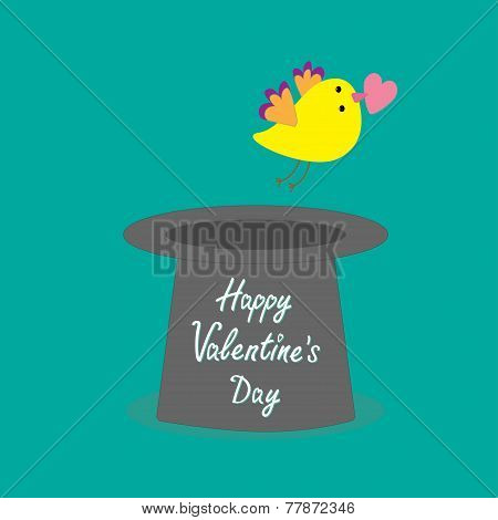 Magic Black Hat With Yellow Flying Bird. Flat Design Style Happy Valentines Day Card