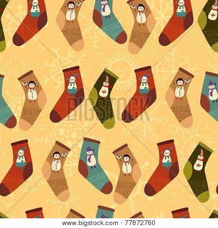 Stylishretro  Merry Christmas Seamless Pattern With Cute Socks And  Cartoon Snowmans In Vector. Seam