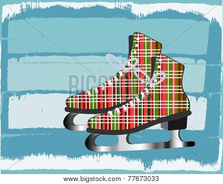 Plaid skates over icy background