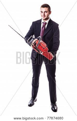 Businessman With Chainsaw