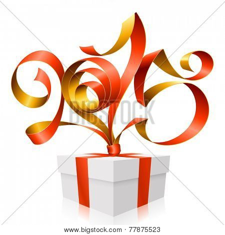 Vector red golden ribbon in the shape of 2015 and gift box. Symbol of New Year