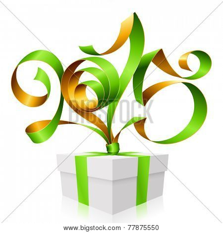 Vector green golden ribbon in the shape of 2015 and gift box. Symbol of New Year