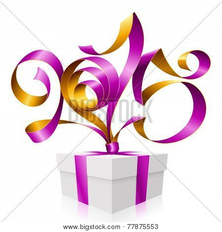 Vector purple golden ribbon in the shape of 2015 and gift box. Symbol of New Year