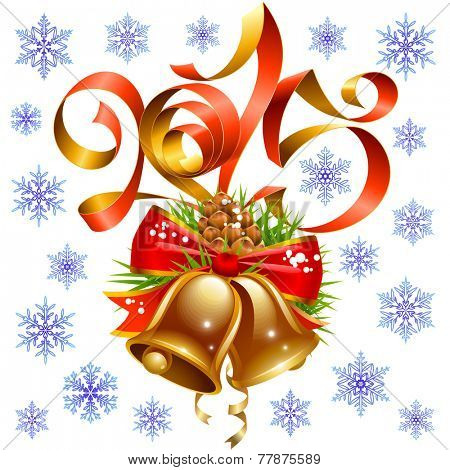 Vector Christmas and New Year 2015 decoration set, red ribbon, golden bell, snowflake