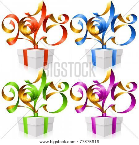 Vector New Year illustration. Red, blue, green and purple ribbons in the shape of 2015 and gift box isolated on white background