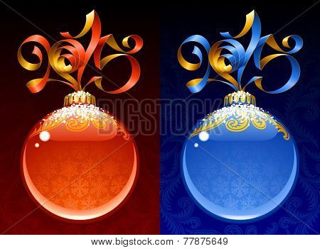 Christmas and New Year circle frame. Vector ribbon in the shape of 2015 and glass ball. Red and blue