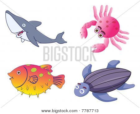 Assorted Cute Sea Creatures In Vector