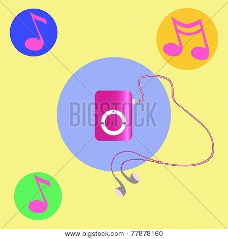 Real Pink Mp3 Player With Headphones.  Vector