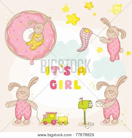 Set of Baby Bunny - Baby Shower or Arrival Cards - in vector