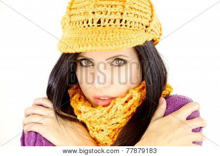 Woman In The Winter Feeling Cold With Hat And Scarf