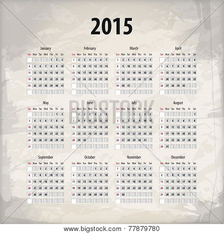 2015 Calendar On Textured Background
