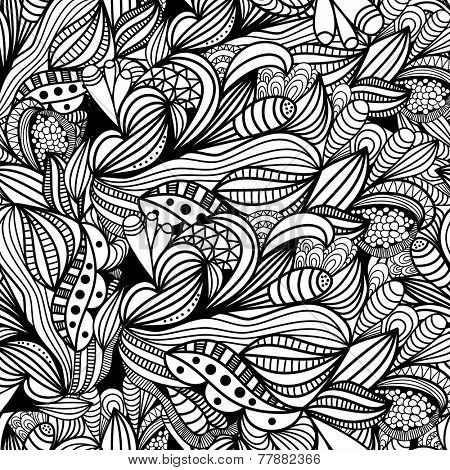 Hand drawn abstract doodle seamless pattern. Seamless background. Vector illustration for design of gift packs, wrap,  patterns fabric, wallpaper, web sites and other.