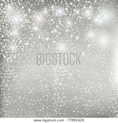 Abstract Christmas grey background. Vector pastel background with snowflakes.