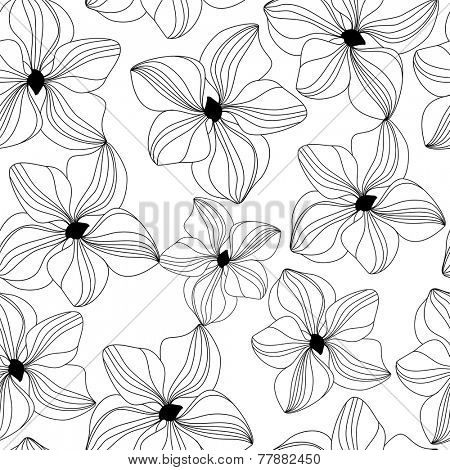 Seamless pattern with black hand drawn orchids on white background. Vector illustration for design of gift packs, wrap,  patterns fabric, wallpaper, web sites and other.