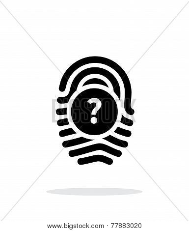 Question mark, FAQ sign. Fingerprint icon on white background.