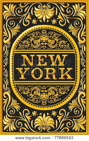 Vintage New York Label Plaque, Black And Gold