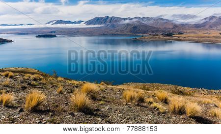 Stunning view over Lake Tekapo in New Zealand