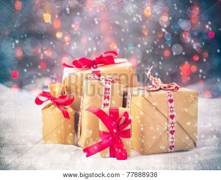 Packets Presents Christmas Background Colored Lights Gift Snow Snowing