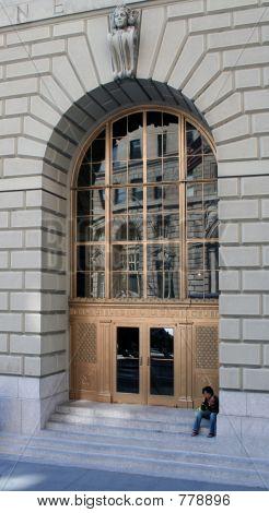 Golden door with arch detail, New York