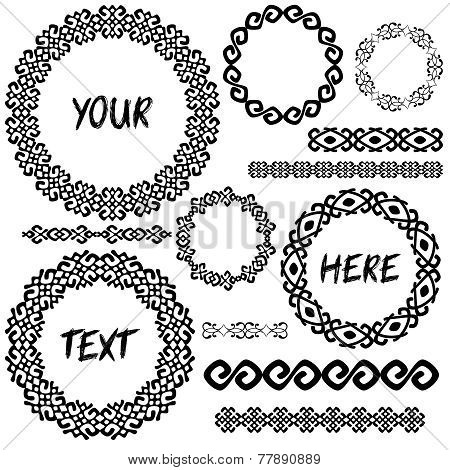 Vintage geometic elements round frames and borders in mega set